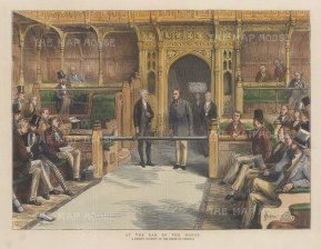 At the Bar. Members of the House of Lords and the public are not allowed beyond the bar when the House is sitting.