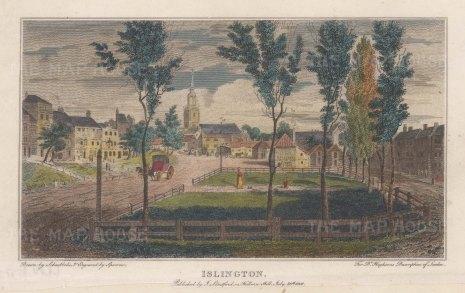 "Stratford: Islington. 1808. A hand coloured original antique steel engraving. 5"" x 4"". [LDNp10770]"