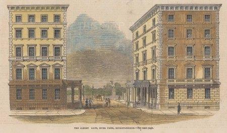 "Illustrated London News: Albert Gate, Hyde Park. 1844. A hand coloured original antique wood engraving. 8"" x 5"". [LDNp10806]"
