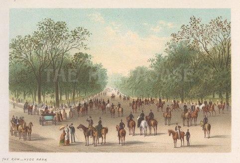 """Nelson: Rotten Row, Hyde Park. 1889. An original antique chromolithograph. 5"""" x 4"""". [LDNp10814]"""