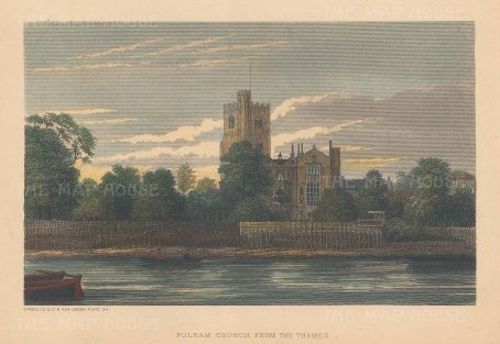Fulham Church. View of the church and Bishop's Park from across the Thames.