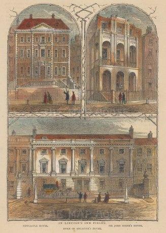 Lincoln's Inn Fields. Newcastle House, Duke of Lancaster's House and Sir John Soane Museum.