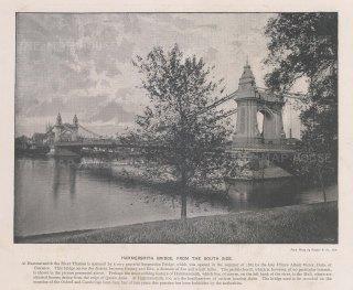 """Cassell & Co.: Hammersmith Bridge. 1900. An original antique photo-lithograph. 10"""" x 8"""". [LDNp10833]"""