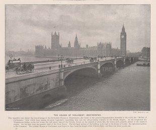 "Cassell & Co.: Houses of Parliament. c1900. An original black & white antique photo-lithograph. 10"" x 8"". [LDNp10838]"