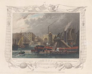 """Tombleson: St. Catherine's Dock. 1845. A hand coloured original antique steel engraving. 8"""" x 6"""". [LDNp10854]"""