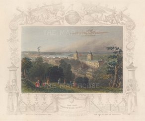 """Tombleson: Greenwich Park. 1845. A hand coloured original antique steel engraving. 8"""" x 6"""". [LDNp10856]"""