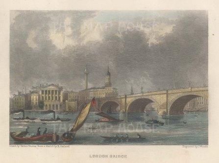 "Fearnside: London Bridge. 1838. A hand coloured original antique steel engraving. 6"" x 4"". [LDNp10860]"