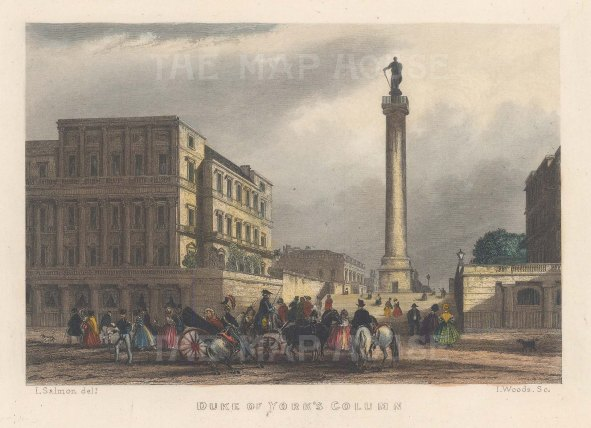"Fearnside: Duke of York's column. 1838. A hand coloured original antique steel engraving. 6"" x 4"". [LDNp10864]"