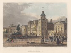 """Fearnside: Horse Guards. 1838. A hand coloured original antique steel engraving. 6"""" x 4"""". [LDNp10865]"""