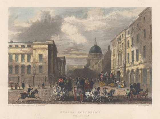 """Fearnside: St Martin Le Grand. 1838. A hand coloured original antique steel engraving. 6"""" x 4"""". [LDNp10867]"""