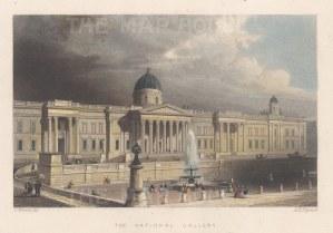 "Tallis: National Gallery, Trafalgar Square. 1851. A hand coloured original antique steel engraving. 6"" x 3"". [LDNp10872]"