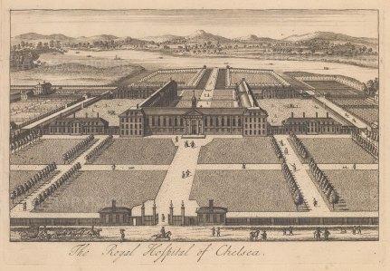 "Stow: Chelsea Royal Hospital. c1750. An original antique copper engraving. 9"" x 6"". [LDNp10879]"