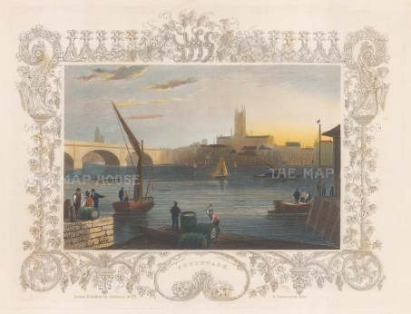 Southwark. View over the Thames towards Southwark Cathedral with decorative border.