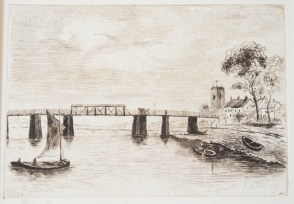 "Herring: Battersea Bridge. 1884. An original antique etching. 5"" x 4"". [LDNp9210]"