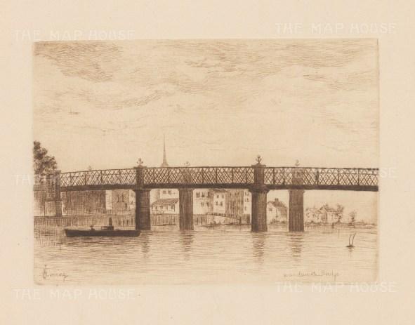 "Herring: Wandsworth Bridge. 1884. An original antique etching. 5"" x 4"". [LDNp9213]"