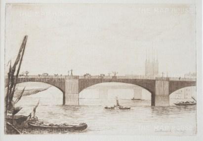 "Herring: Southwark Bridge. 1884. An original antique etching. 5"" x 4"". [LDNp9220]"