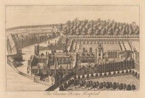 "Stow: Charterhouse Hospital. c1755. An original antique copper engraving. 13"" x 9"". [LDNp9351]"