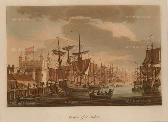 "Ireland: Tower of London. 1799. An original colour antique aquatint. 7"" x 5"". [LDNp9805]"