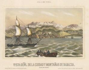 Baracoa: View of the port and Baracoa mountain range from the sea.
