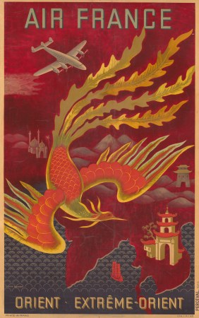 Extreme Orient:: Promotional poster for Air France's routes in French Indochina. By Lucien Boucher.