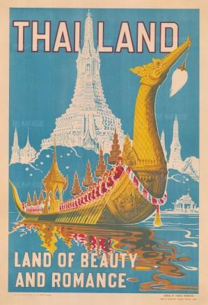 Thailand: Land of Beauty and Romance. Stylised image of Wat Arun and a Golden Royal Dragon Boat. Printed by Kana Chang Bangkok.