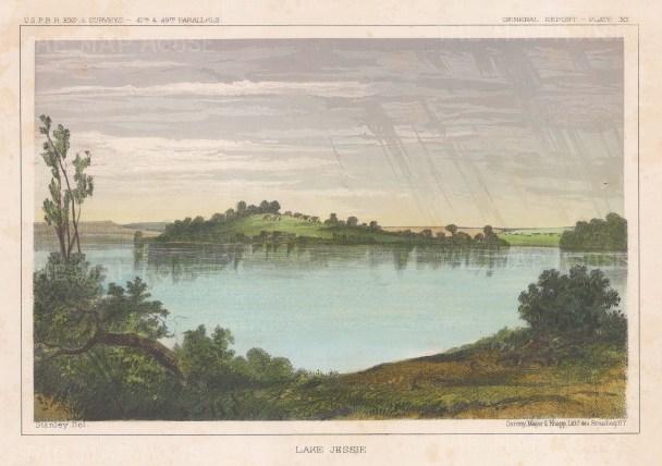 "U.S.P.R.R. Exp.: Lake Jessie, North Dakota. 1857. A hand coloured original antique lithograph. 10"" x 7"". [USAp3357]"