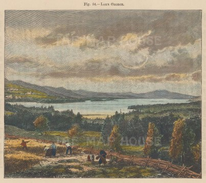 """Reclus: Lake George, New York. 1894. A hand coloured original antique wood engraving. 6"""" x 5"""". [USAp4146]"""