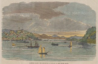 """Illustrated London News: Eastport, Maine. A hand coloured original antique wood engraving. 10"""" x 6"""". [USAp4523]"""
