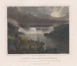 """Hinton: Niagara Falls, New York. 1830. A hand coloured original antique steel engraving. 8"""" x 6"""". [USAp4764]"""