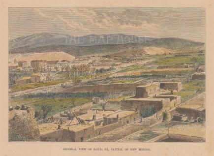 """Relcus: Santa Fe, New Mexico. 1894. A hand coloured original antique wood engraving. 8"""" x 6"""". [USAp5045]"""