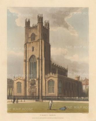 """Ackermann: St. Mary's Church. 1815. An original colour antique aquatint. 8"""" x 10"""". [CAMBSp278]"""