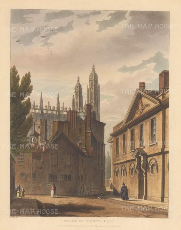 "Ackermann: Trinity Hall. 1815. An original colour antique aquatint. 8"" x 10"". [CAMBSp302]"