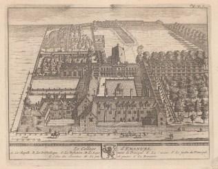 """van der Aa: Emanuel College. 1727. An original antique copper engraving. 6"""" x 5"""". [CAMBSp343]"""