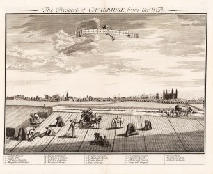 Panorama of Cambridge with a key to the University Colleges.