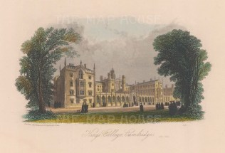 """Harwood: King's College. 1840. A hand coloured original antique steel engraving. 7"""" x 4"""". [CAMBSp450]"""