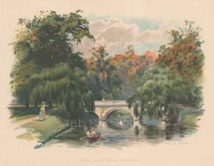 "Wilkinson: Trinity College Bridge. 1900. An original antique chromolithograph. 9"" x 6"". [CAMBSp496]"