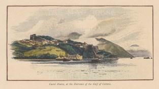 "Picturesque Mediterranean: Castle Nuovo, Croatia. c1880. A hand coloured original antique wood engraving. 7"" x 4"". [CEUp345]"