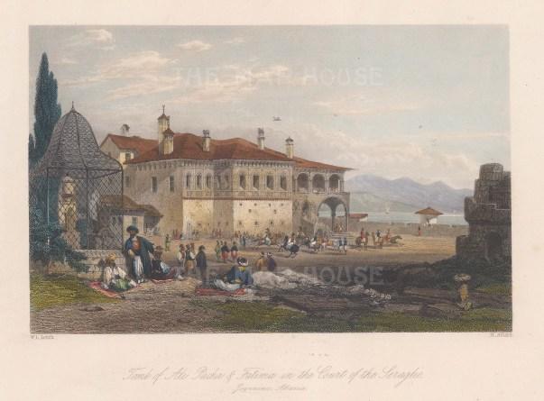 "Leitch: Ioannina, Albania. c1840. A hand coloured original antique steel engraving. 9"" x 7"". [CEUp428]"
