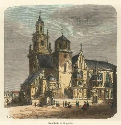 "Garnier: Cracow, Poland. 1876. A hand coloured original antique wood engraving. 5"" x 5"". [CEUp496]"