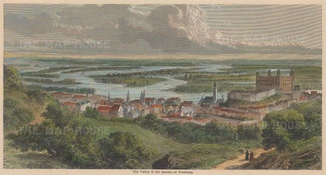 "Illustrated London News: Bratislava, Slovakia. c1870. A hand coloured original antique wood engraving. 8"" x 5"". [CEUp514]"