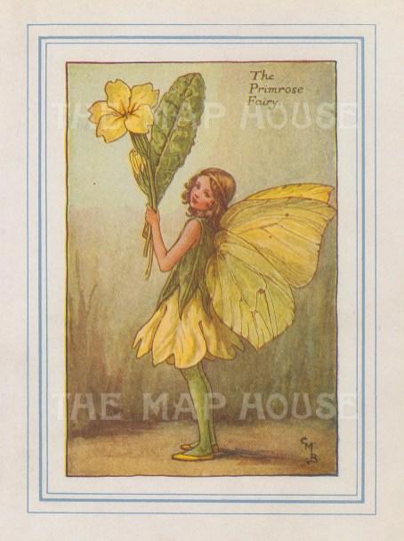 "Barker: Primrose Fairy. 1927. An original vintage chromolithograph. 3"" x 4"". [DECp2174]"