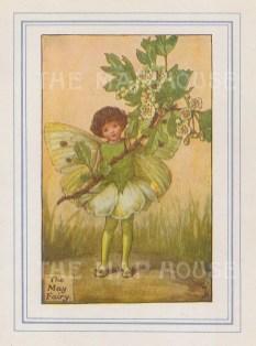 "Barker: May Fairy. 1927. An original vintage chromolithograph. 3"" x 4"". [DECp2175]"