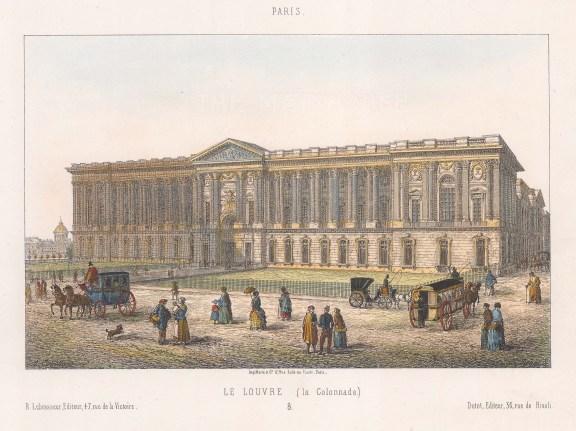 """Lebrasseur: Louvre. c1840. A hand coloured original antique lithograph. 10"""" x 7"""". [FRp1321]"""