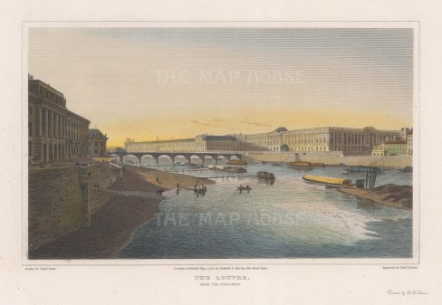 "Lieut. Col. Batty: The Louvre. 1822. A hand coloured original antique steel engraving. 10"" x 8"". [FRp1491]"