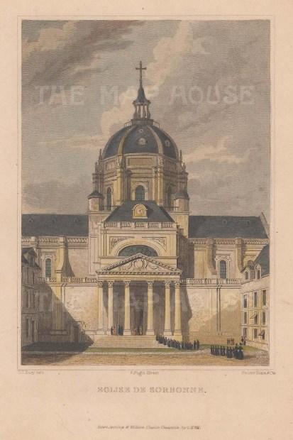 """Jennings: Eglise de Sorbonne. 1831. A hand coloured original antique steel engraving. 5"""" x 7"""". [FRp1509]"""