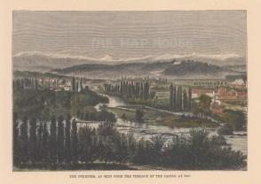 "Reclus: Pau. 1894. A hand coloured original antique wood engraving. 8"" x 6"". [FRp1557]"
