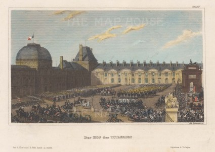 """Meyer: Tuileries Palace. 1854. A hand coloured original antique steel engraving. 6"""" x 4"""". [FRp1583]"""