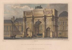"""Pugin: Arc de Triomphe. 1828. A hand coloured original antique steel engraving. 6"""" x 4"""". [FRp1632]"""