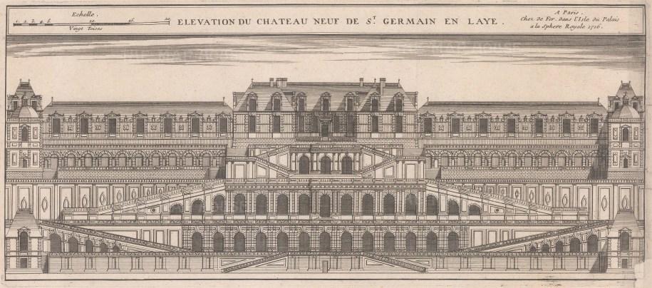 """de Fer: St Germaine en Laye. 1716. An original antique copper engraving. 17"""" x 8"""". [FRp1642]"""