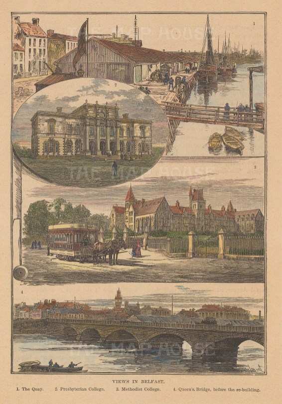 Views of the Quay, Queen's Bridge, Methodist and Presbyterian colleges.